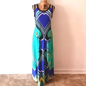 NY Collection Colorful Sleeveless Print Maxi Dress